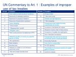 un commentary to art 1 examples of improper use of tax treaties