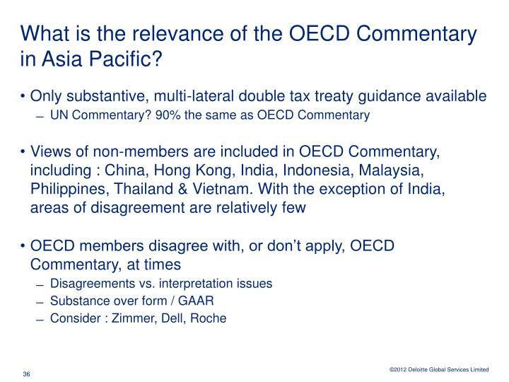 What is the relevance of the OECD Commentary in Asia Pacific?