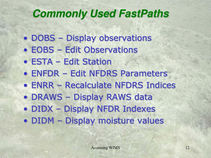 Commonly Used FastPaths