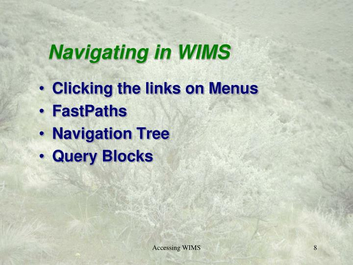 Navigating in WIMS