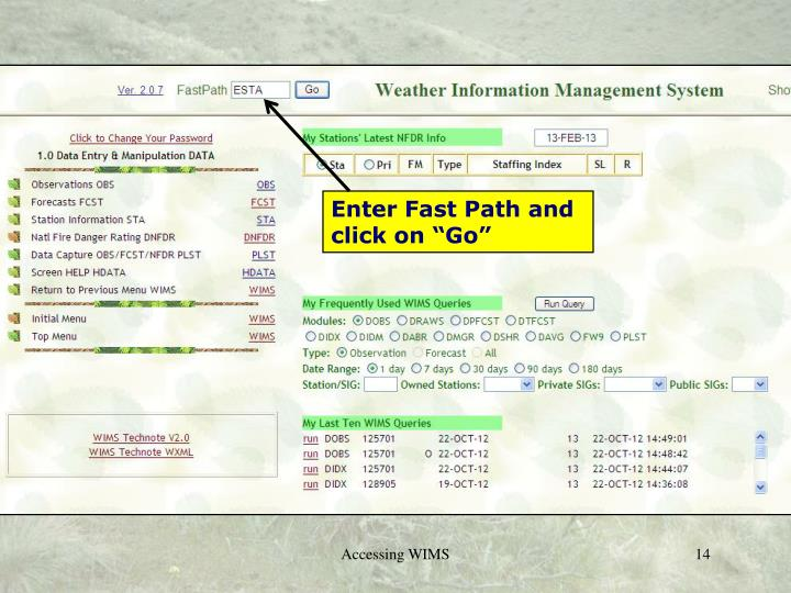 "Enter Fast Path and click on ""Go"""
