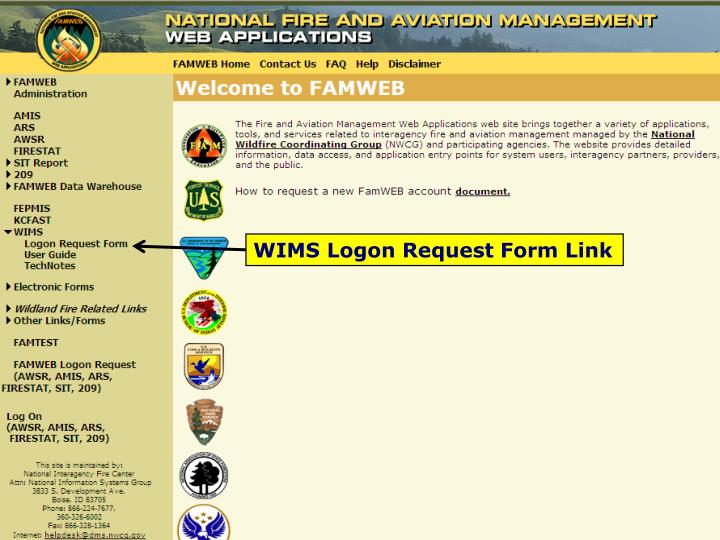 WIMS Logon Request Form Link