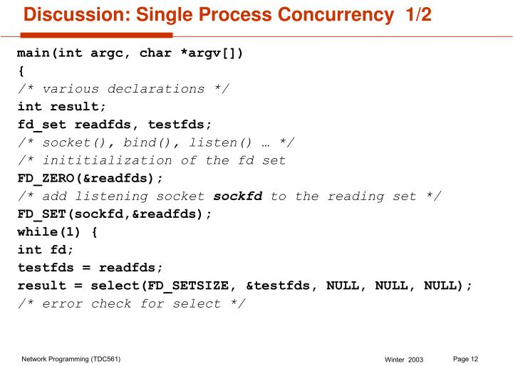 Discussion: Single Process Concurrency  1/2