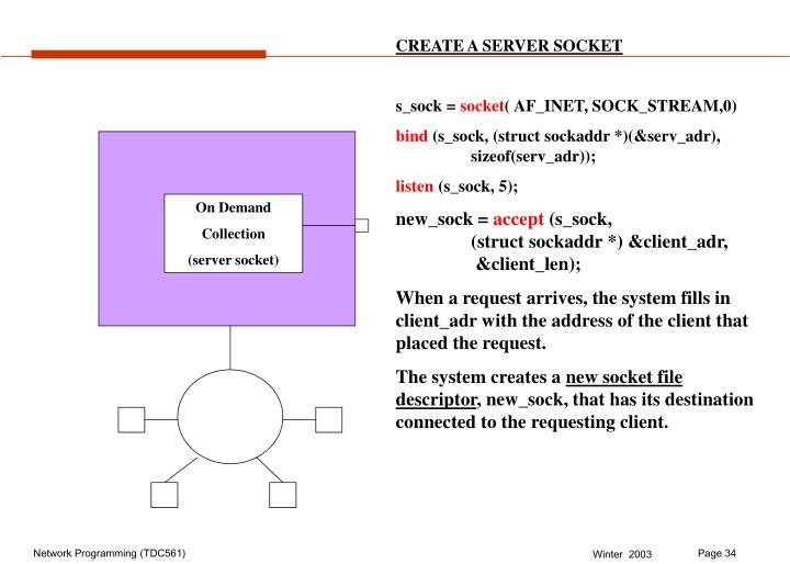 CREATE A SERVER SOCKET