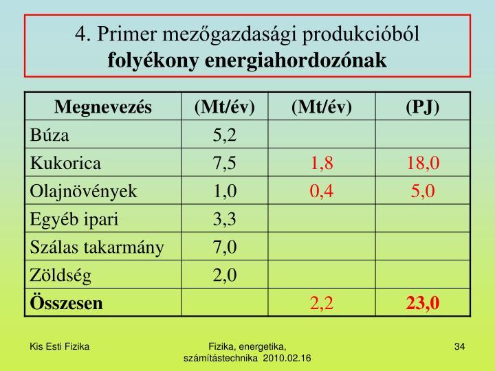 4. Primer mezőgazdasági produkcióból