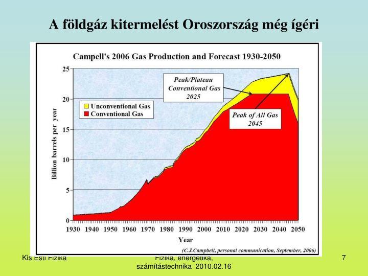 A földgáz kitermelést Oroszország még ígéri