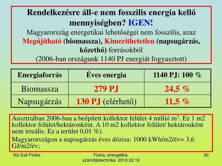 Rendelkezésre áll-e nem fosszilis energia kellő mennyiségben?