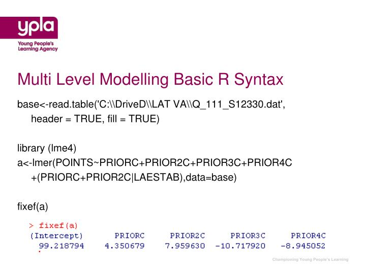 Multi Level Modelling Basic R Syntax