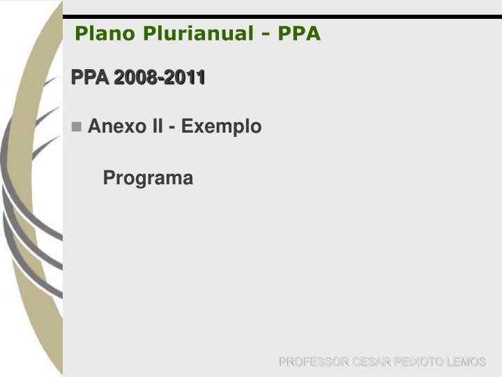 Plano Plurianual - PPA