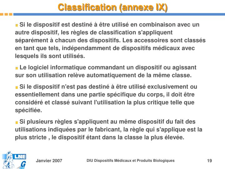 Classification (annexe IX)