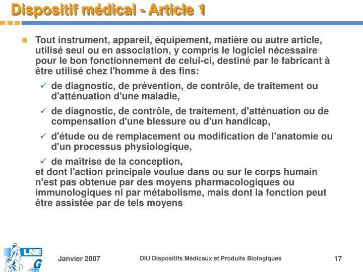 Dispositif médical - Article 1