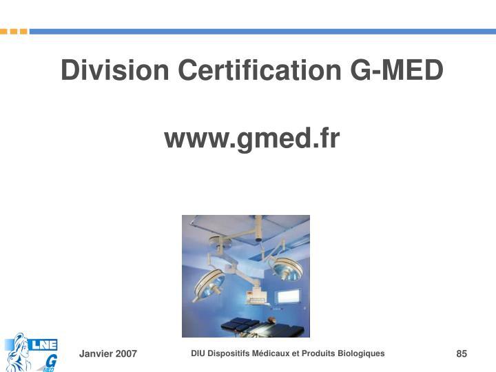 Division Certification G-MED