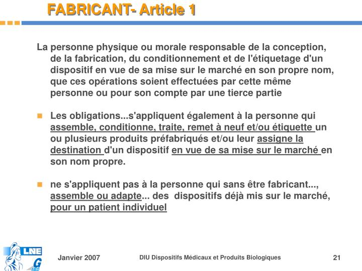 FABRICANT- Article 1