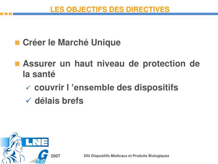 LES OBJECTIFS DES DIRECTIVES