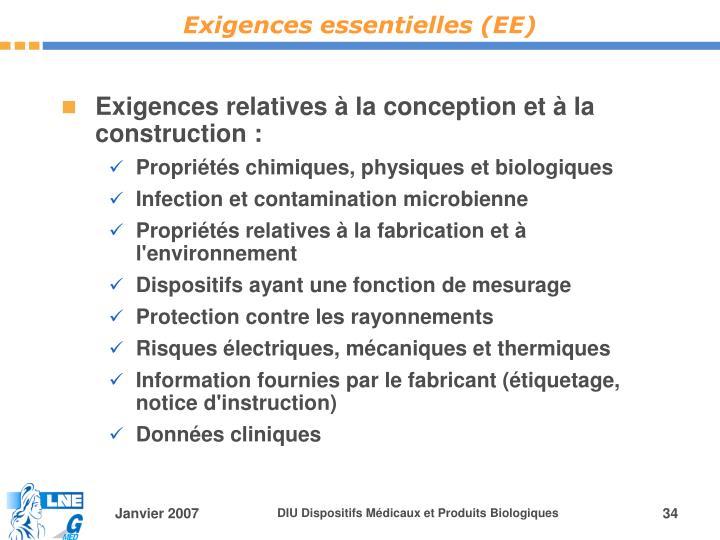 Exigences essentielles (EE)