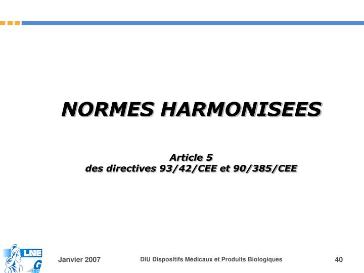 NORMES HARMONISEES