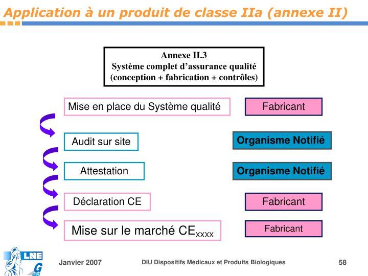 Application à un produit de classe IIa (annexe II)