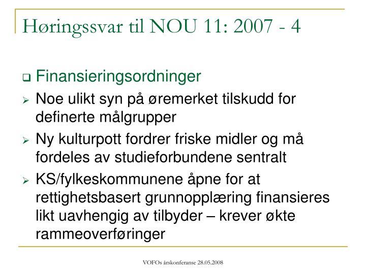 Høringssvar til NOU 11: 2007 - 4