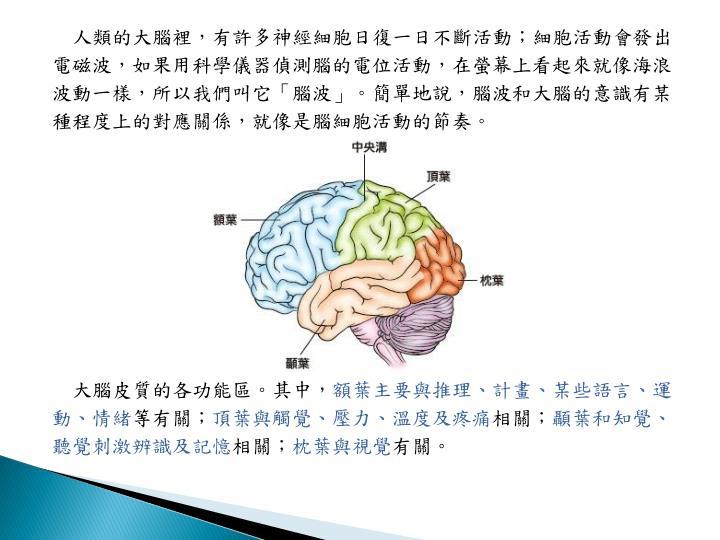 人類的大腦裡,有許多神經細胞日復一日不斷活動;細胞活動會發出