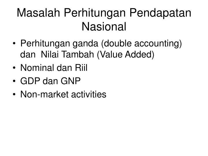 Masalah Perhitungan Pendapatan Nasional