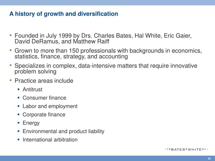 A history of growth and diversification