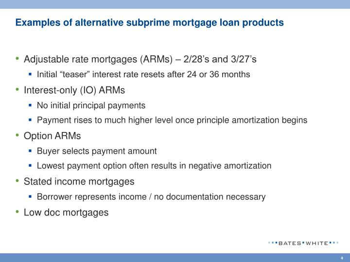 Examples of alternative subprime mortgage loan products