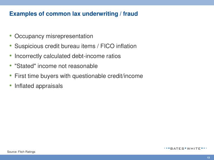 Examples of common lax underwriting / fraud