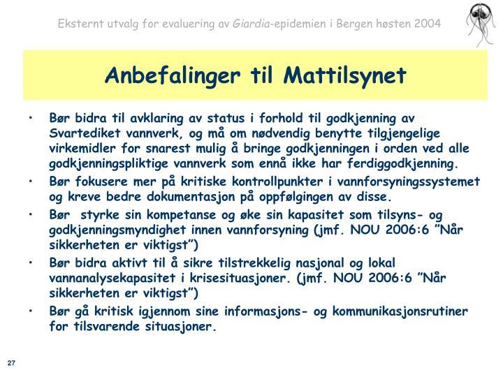 Anbefalinger til Mattilsynet