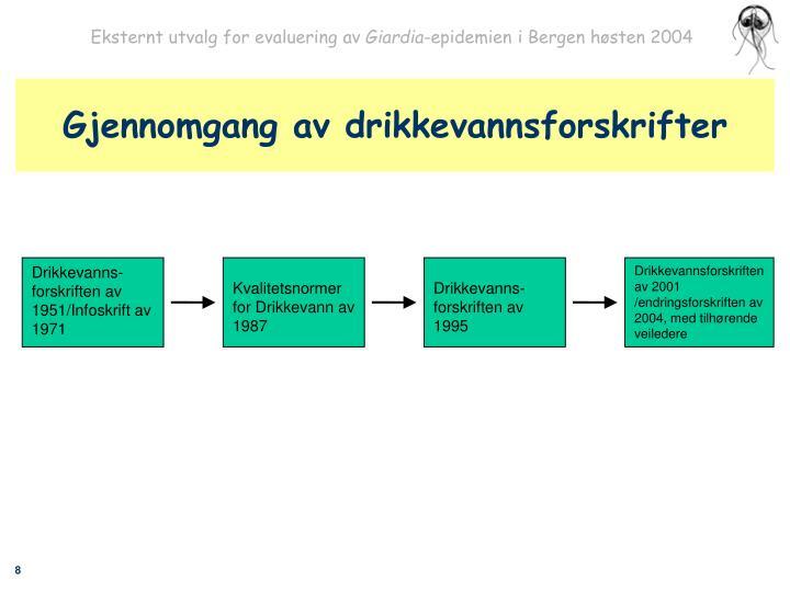Gjennomgang av drikkevannsforskrifter