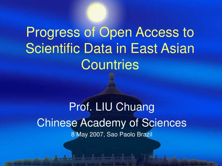 Progress of open access to scientific data in east asian countries