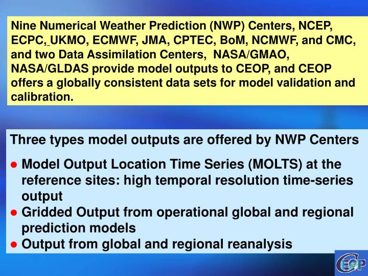 Nine Numerical Weather Prediction (NWP) Centers, NCEP,