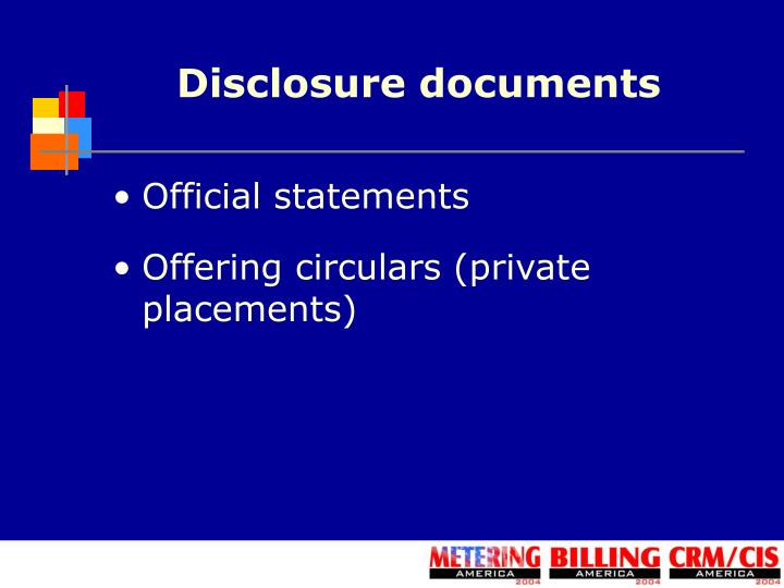 Disclosure documents