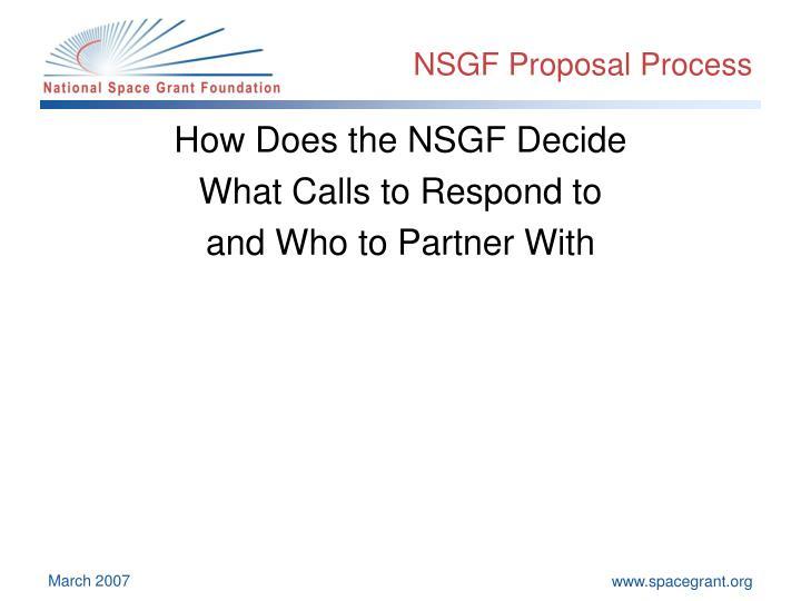 NSGF Proposal Process
