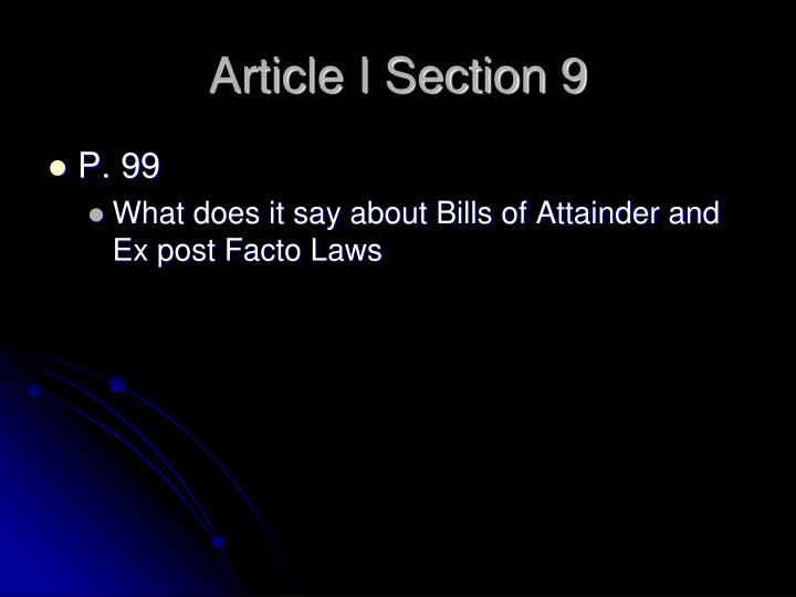 Article I Section 9