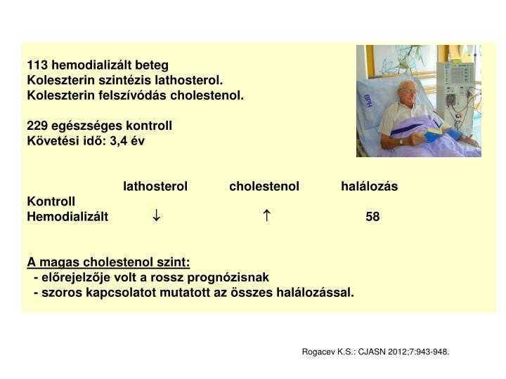 113 hemodializált beteg