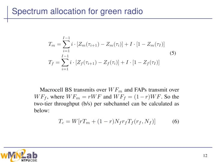 Spectrum allocation for green radio