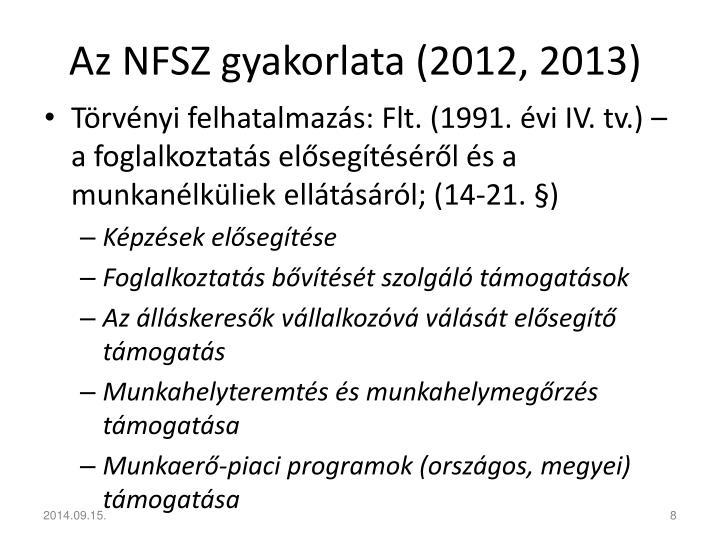 Az NFSZ gyakorlata (2012, 2013)