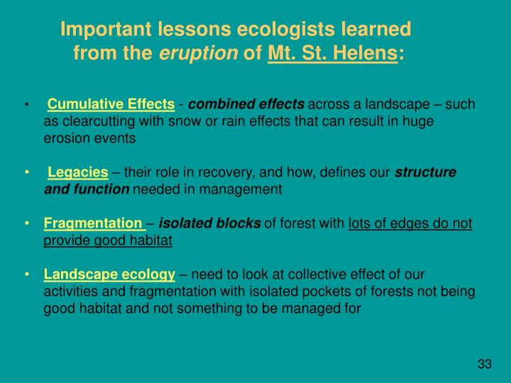 Important lessons ecologists learned