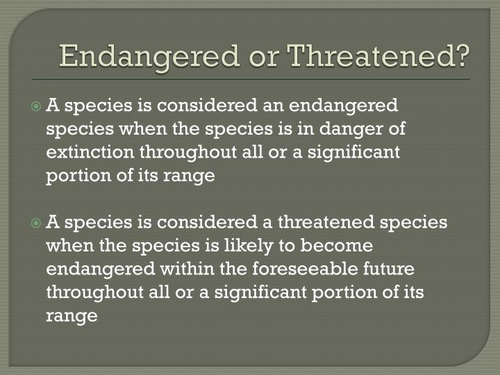 Endangered or Threatened?