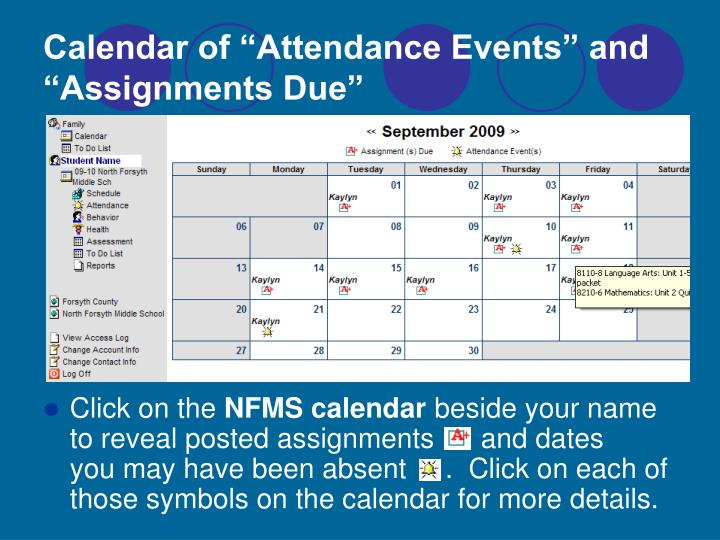 "Calendar of ""Attendance Events"" and ""Assignments Due"""