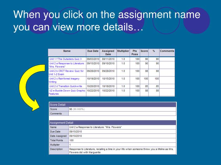 When you click on the assignment name you can view more details…