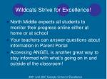 wildcats strive for excellence