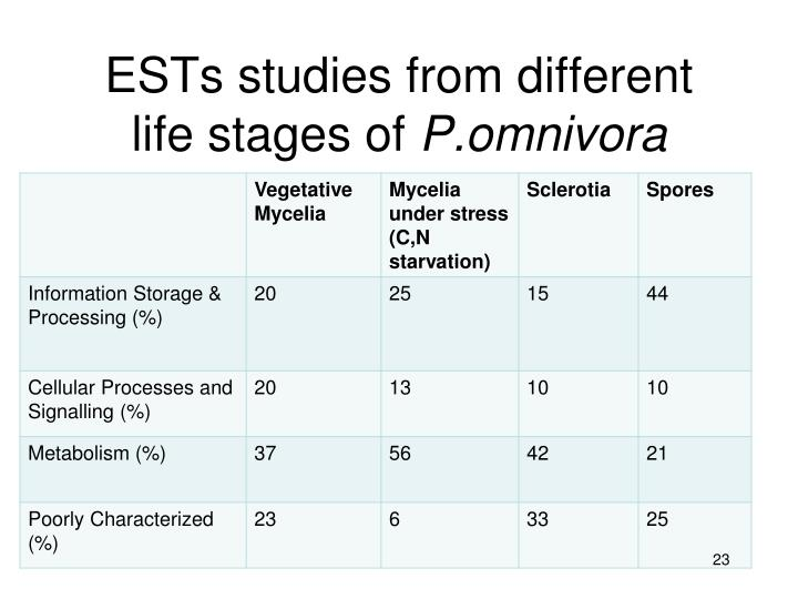 ESTs studies from different life stages of