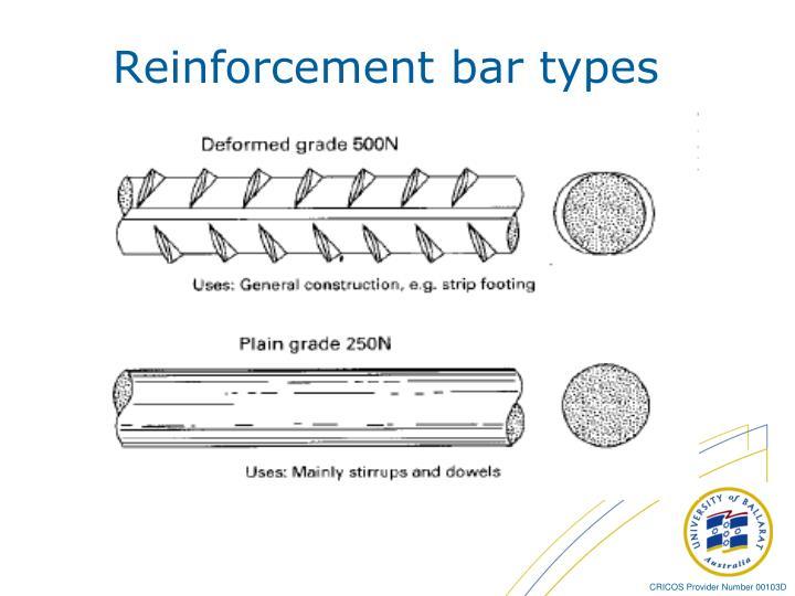 Reinforcement bar types