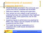 determinants of success lessons learned