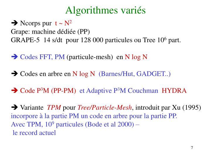 Algorithmes variés