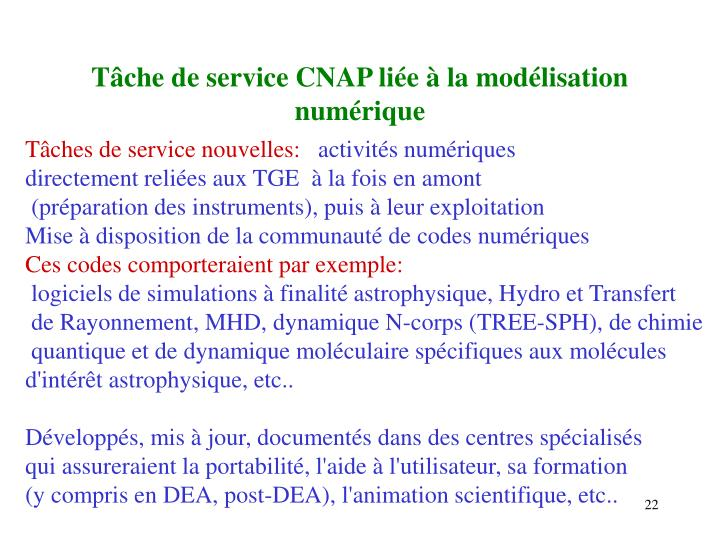 Tâche de service CNAP liée à la modélisation numérique