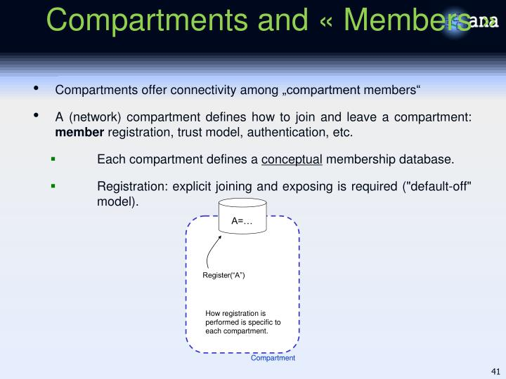 Compartments and « Members »