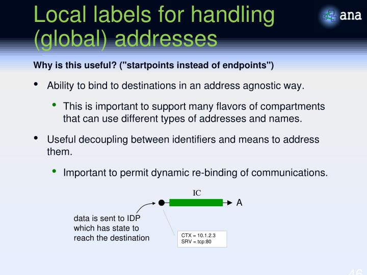 Local labels for handling (global) addresses