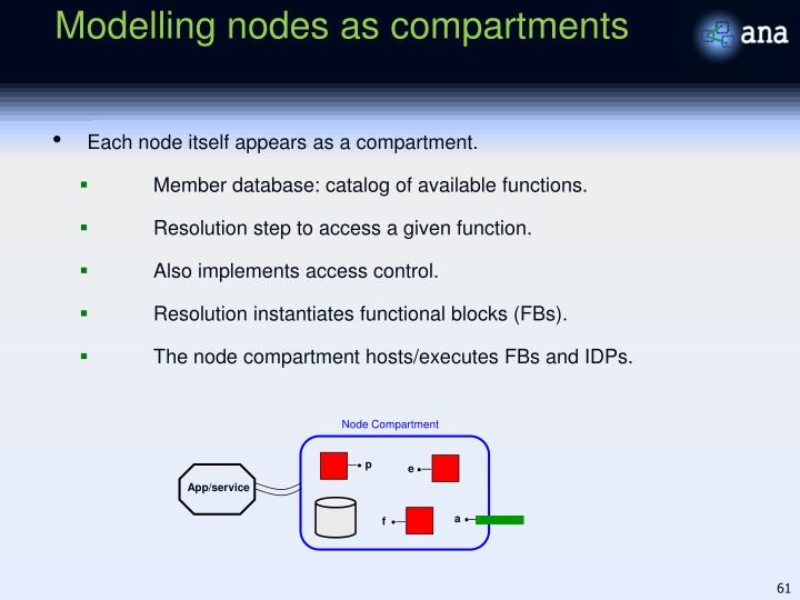 Modelling nodes as compartments